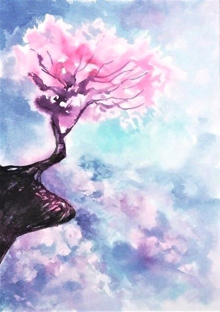 Drawing Flowers Aceo Original Art Cherry Blossom Tree Painting