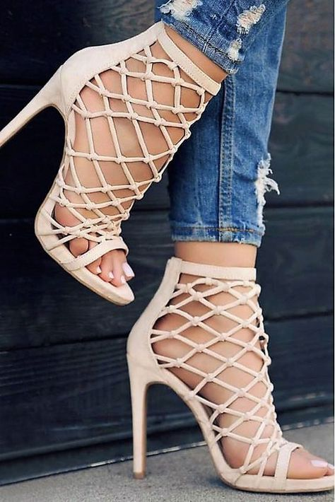 Nude / Blush Strappy Caged Knotted Open Toe Bootie Heel Sandals, Us 6 - 10