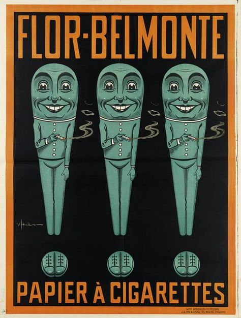 Flor-Belmonte cigarette papers ad by an unknown artist, ca.1913