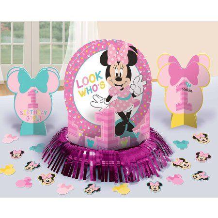 Disney Minnie S Fun To Be One Table Decorations Walmart Com Minnie Mouse 1st Birthday Minnie Mouse First Birthday Birthday Party Table Decorations