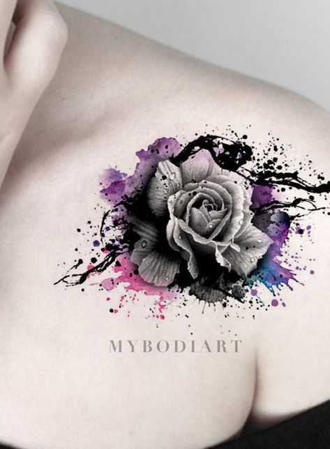 Cool Watercolor Splat Black Rose Tattoo on Shoulder - Traditional Vintage Floral Flower Arm Tat Ideas for Women - ideas frescas del tatuaje del hombro de la rosa negra de la acuarela - www.MyBodiArt.com #tattoos