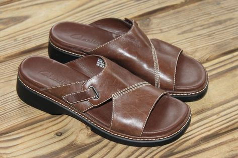 Clarks Size 9 N Brown Leather Slide On Slip On Women's