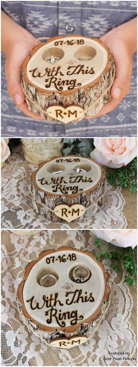 Personalized Rustic Tree Stump Ring Bearer Pillow Box #weddings #weddinginspiration #weddingideas #rusticwedding #countryweddings