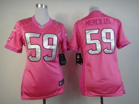 nike houston texans 59 whitney mercilus pink love womens jersey
