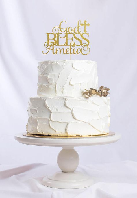 Custom Personalized Baptism Cake Topper Glitter Cake Topper Christening Cake Topper God Bless Cake Topper Custom God Bless Cake Topper