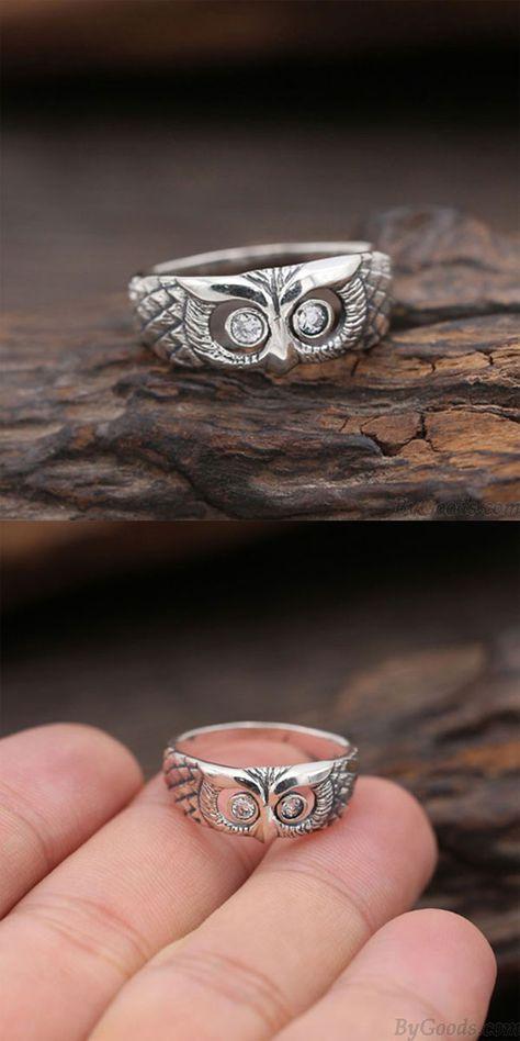 Retro Kreativer Diamant Eule Offener Ring Silber Tierring #owl #ring