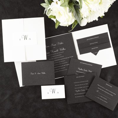 Elegant Black White Shimmer Pocket Ensemble Invitation Card And Enclosures Create An Exciting Ensembl