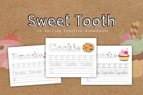 Sweet Tooth Educational Writing Practice Worksheets