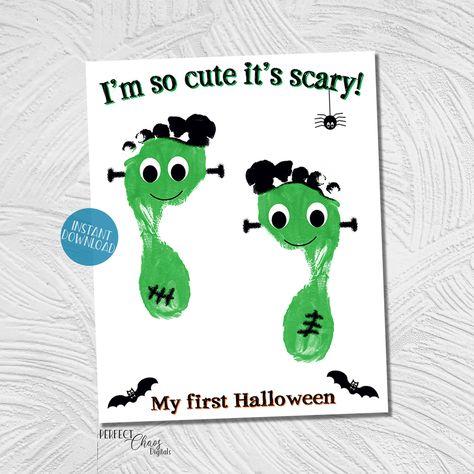 Halloween Handprint Art, My First Halloween Keepsake, Footprint Craft, DIY Kid Craft, Halloween Printable, Frankenstein Footprint Project