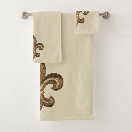 Gold French Fleur De Lis Bath Towel Set With Images Bath Towel