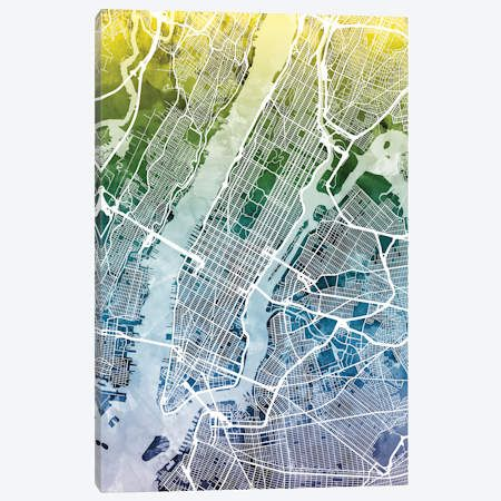New York City New York Usa Ii Canvas Print By Michael Tompsett Icanvas Abstract Canvas Painting Street Map Abstract Canvas