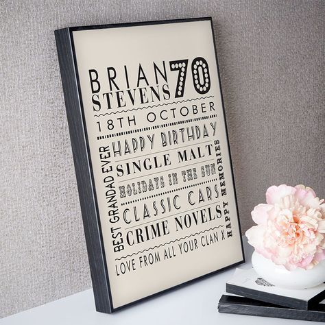 70th Birthday Gift For Him Of Personalised Age Word Art Box Frame Warm Grey Colour Option Beautiful Gifts To Commemorate A Landmark