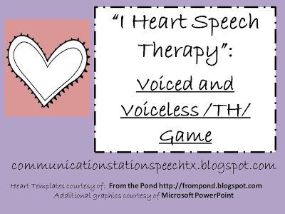 FREEBIE: I Heart Speech Therapy TH game with pictures for initial, medial and final voiced and voiceless /th/ from Communication Station: Speech Therapy, PLLC