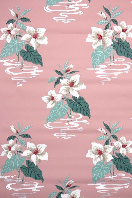 vintage wallpaper for a pink bathroom