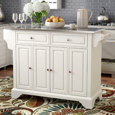 Three Posts Hedon Kitchen Island With Stainless Steel Top Kitchen Design White Kitchen Island Best Kitchen Designs
