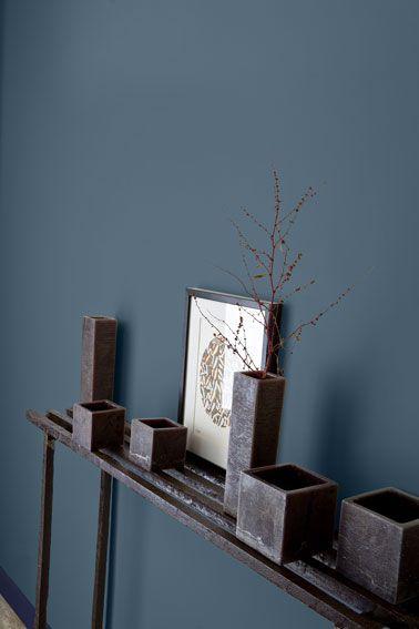 couleur-peinture-entree-bleu-intense-gris-anthracite- - Decoration maison, Idees deco interieur, astuces et peinture