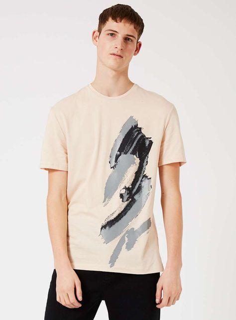 TOPMAN PREMIUM Stucco Pink Splat Print T-Shirt