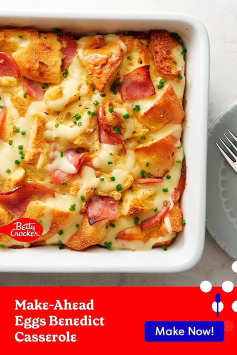 Our Make-Ahead Eggs Benedict Casserole is perfect for a quick breakfast. Pin today for a breakfast the whole family will love.