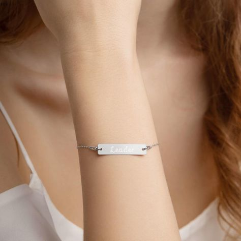 It's the leader who is the one that gets the people to do the greatest thing. So be the genuine achiever and fearless future leader with this powerful empowered leader design. It's the perfect theme for all idealist and inspiring leaders you know! This engraved bar chain bracelet with a sterling silver pendant can become anything you want it to be, from a meaningful gift for a loved one to a sleek accessory for your own use. The sharp engraving won't fade for a very long time, making the bracele