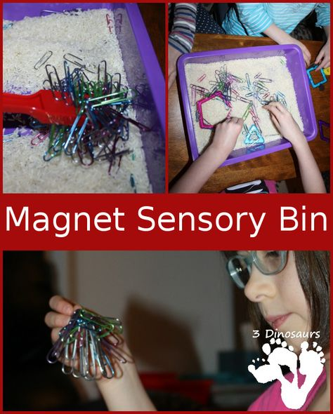Playing with Magnets Sensory Bin - Hands on learning plus great fine motor