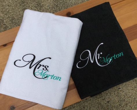Personalized Mr Mrs Beach Towels Embroidered Set Of 2 Towels