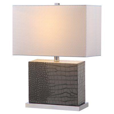 Safavieh Delia Faux Alligator Lit4403 Table Lamp Table Lamp Grey Table Lamps Metal Table Lamps