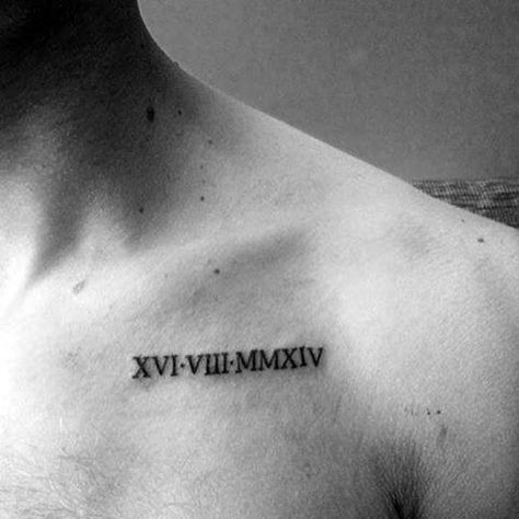100 Roman Numeral Tattoos For Men – Manly Numerical Ink Ideas Tiny Roman Numeral Mens Upper Chest Tattoos