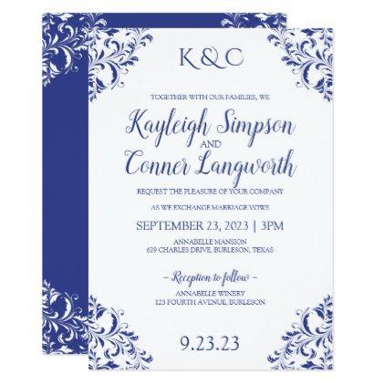 Elegant Vintage Royal Blue Wedding Invitations Zazzle Com Royal Blue Wedding Invitations Blue Wedding Invitations Vintage Wedding Invitations
