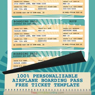 photograph regarding Free Printable Airline Ticket Template identified as Printable Airline Boarding P Template (Totally free Printables