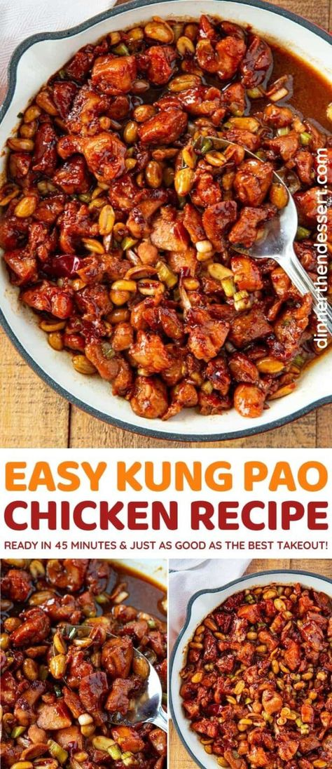 Kung Pao Chicken is an easy Chinese takeout dish, made in your own home in only 30 minutes! #dinner #chinesefood #kungpao #kungpaochicken #asianfood #chineserecipes #stirfry #dinnerthendessert
