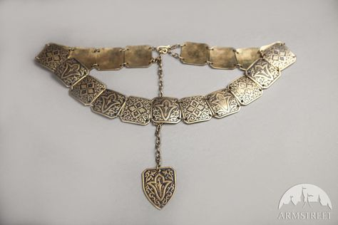 Exclusive Etched Women's Brass Belt   Medieval jewelry
