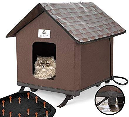 Heated Cat Houses For Indoor And Outdoor Cats Elevated Waterproof And Insulated A Safe P Heated Cat House Insulated Cat House Outdoor Cat House