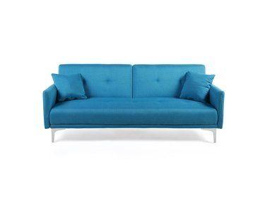 Divano Letto Azzurro.Divano Letto Moderno 3 Posti In Tessuto Azzurro Lucan Sofa