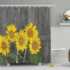 Ambesonne S Sunflower Decor Shower Curtain Set Sunflower Decor