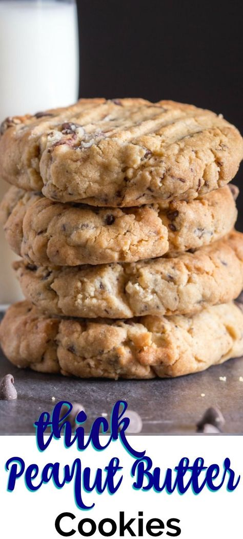 Thick Peanut Butter Chocolate Chip Cookies, the best Peanut Butter Cookies you will make or eat. Made with loads of chocolate chips and deliciously thick. #peanutbuttercookies #cookies #peanutbutter #thickcookies #chocolatechipcookies #thickchocolatechippeanutbuttercookies
