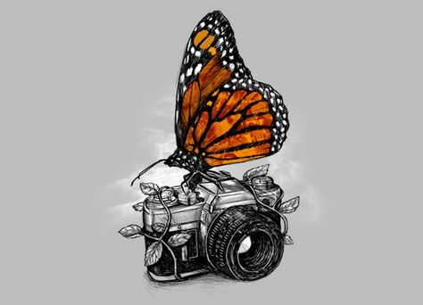 Illustrations by Alex Solis - Monarch butterfly on old camera Snap a picture and capture a Memory for life! Alex Solis, Art Amour, Camera Drawing, Camera Painting, Art Design, Oeuvre D'art, Cool Drawings, Pencil Drawings, Detailed Drawings