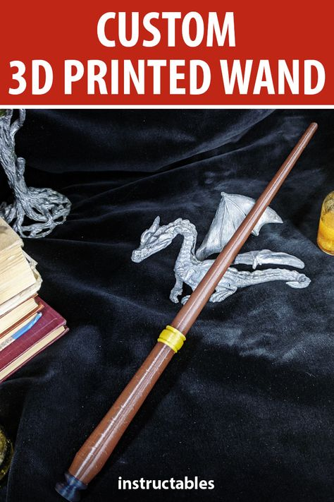 Create a custom Harry Potter wand you can 3D print using Tinkercad.  #Instructables #prop #cosplay #3Dprint #studen