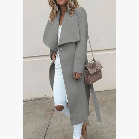 Women Wool Long Trench Coat Spring Autumn Wide Lapel Thin Coats With Belt Outwear Elegant Ladies Sol