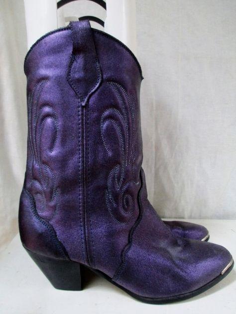 Womens VAMP Western Cowboy Buckaroo BOOTS Shoes PURPLE METALLIC 8