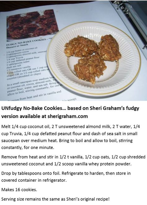 UNfudgy No-Bake Cookies based on the fudgy version by Sheri Graham! http://sherigraham.com/trim-healthy-mama-fudgy-no-bake-cookies-s