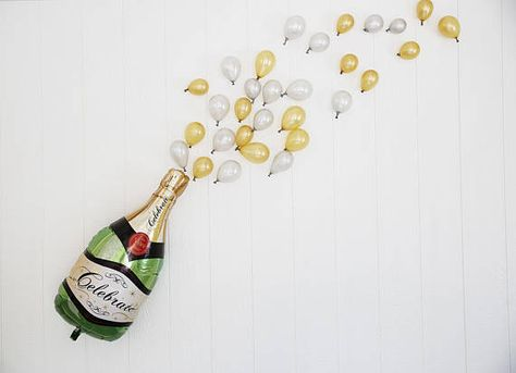 36'' Champagne Bottle Balloon with 12'' Ivory Pearl Bubble Latex Balloon  Bachelorette  Baby Shower 