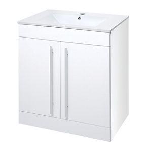 Bathroom Vanity Unit Basin White Gloss 600 X 450 X 775mm With