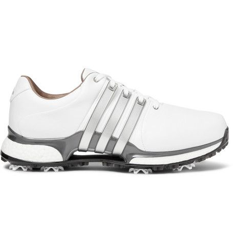 white leather golf shoes