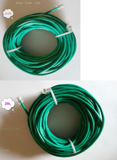 25ft Rj11 Rj12 Cat5e Green Dsl Telephone Data Cable For Centurylink At T Etc Ebay Data Cable Phone Cables Telephone