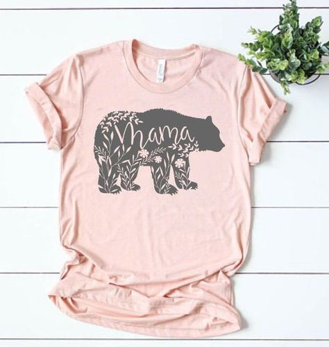 Mama Bear Shirt New Mom Gift Floral Tshirt Mother Pregnancy Announcemen