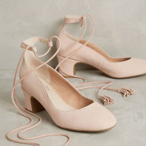 Anthropologie Shoes | New Anthro X Seychelles Pachuca Lace Up Pump | Color: Pink | Size: 8.5