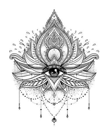 Flor De Loto Ornamental Del Vector Ojo Todo Que Ve Paisley Indio Modelado Ilustracion Dibujada A Mano Elemento De La Invitacion Tatuaje Astrologia Alquim Tatuaje De Mandala De Loto Tatuajes De Flor
