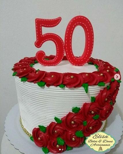Festa De Aniversario 50 Anos Bolos E Lembrancinhas Bolo De 50