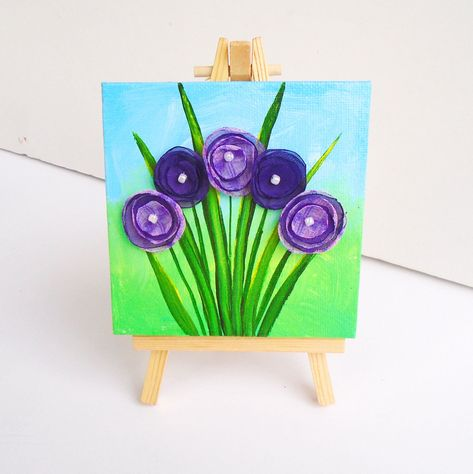 Purple Flower Painting Mini Canvas Artwork Mother's Day | Etsy