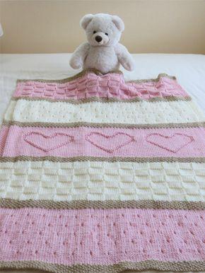 Knit Baby Blanket Pattern Heart Baby Blanket Pattern Easy Knitting Pattern By Deborah O Leary Crochet Heart Blanket Baby Blanket Knitting Pattern Baby Blanket Pattern